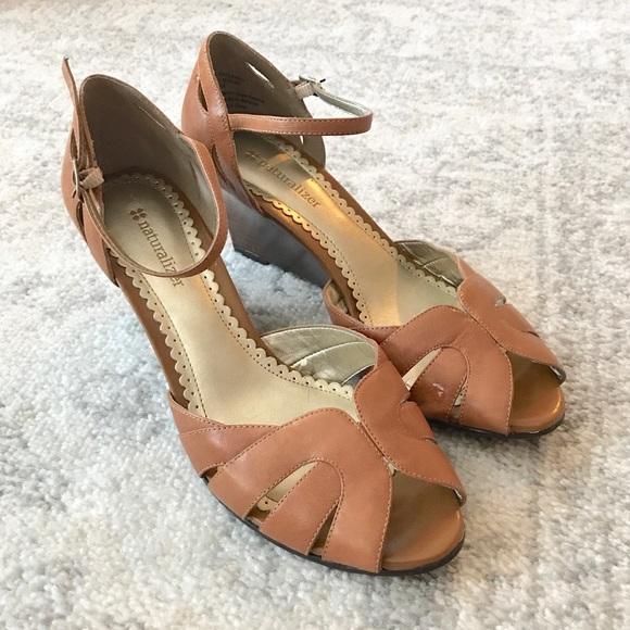 734a90fbb9 Naturalizer Shoes | Euc Light Cognac Brown Wedge Sandals | Poshmark